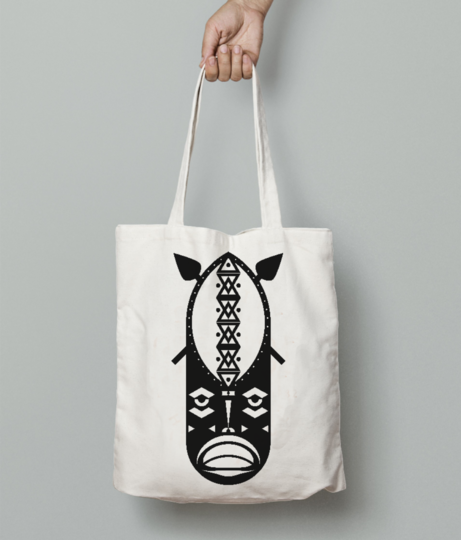 Warrior tribal tote bag front
