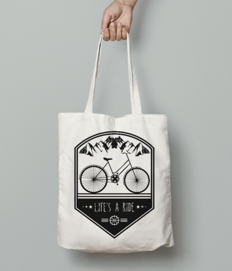 Life is ride tote bag front