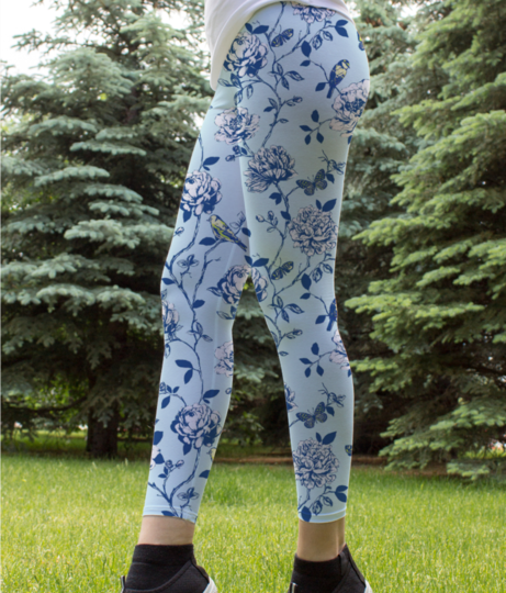 Floral butterfly leggings front