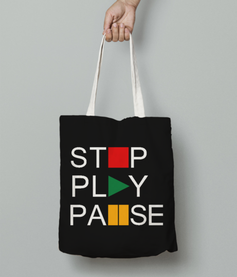 Stop play tote bag front
