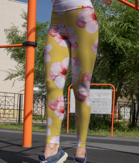 Hand drawn cherry blossom flower isolated 53876 8829 leggings front
