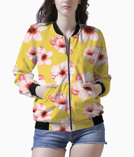 Hand drawn cherry blossom flower isolated 53876 8829 bomber front