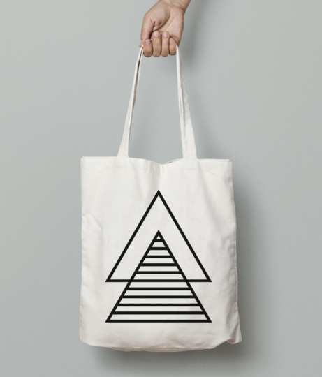 Minimal double triangle tote bag front