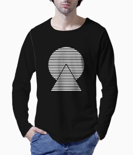 Striped monochrome henley front