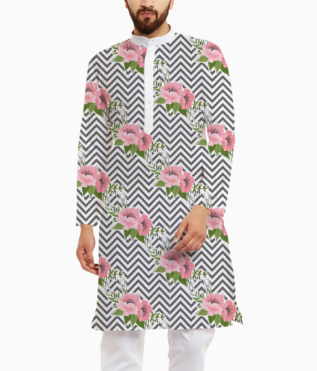 Stripes floral design kurta front