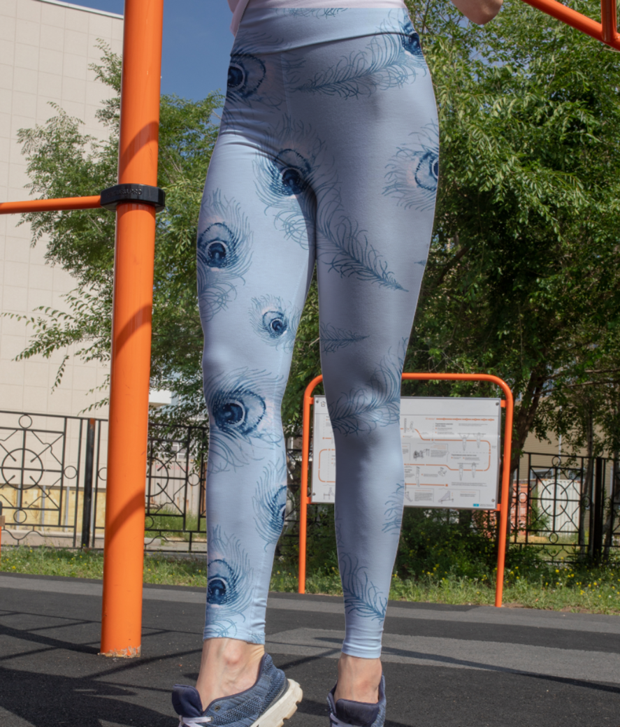 Blue peacock leggings front