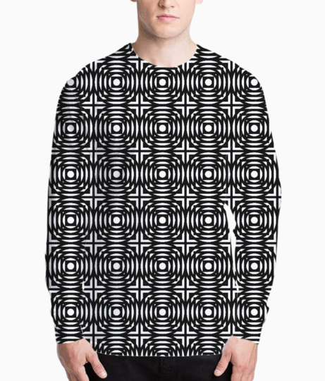 Abstract circles and squares henley front
