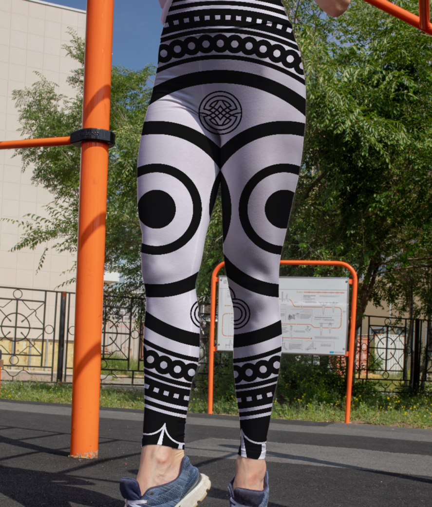 Abstract owl mandala leggings front