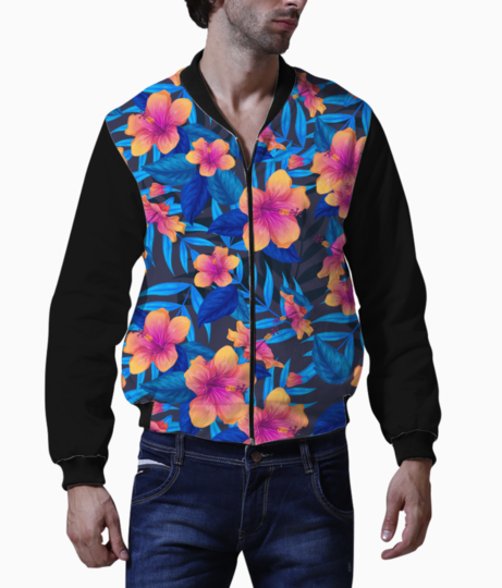 Tulips pattern bomber front