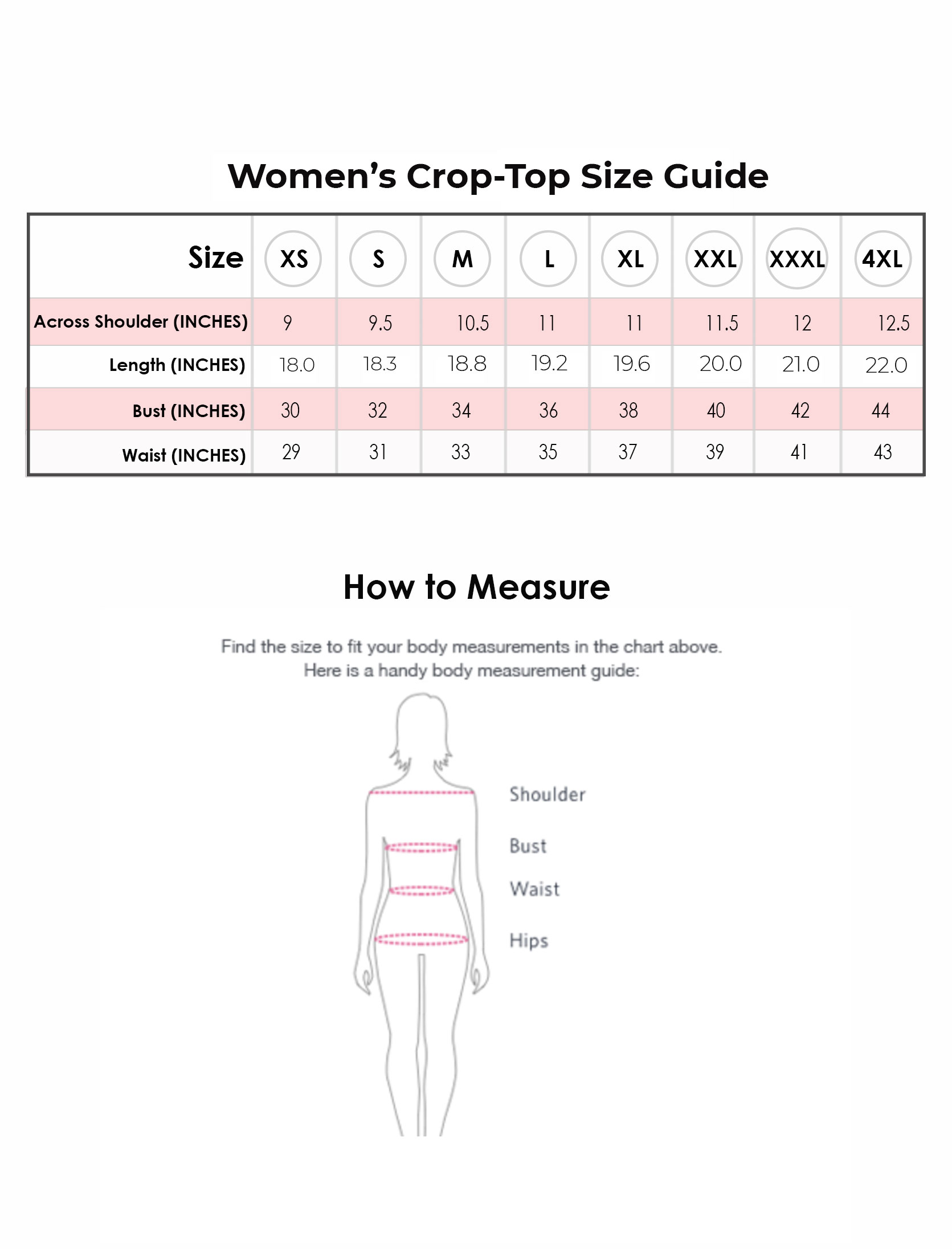 Size guide pc croptop