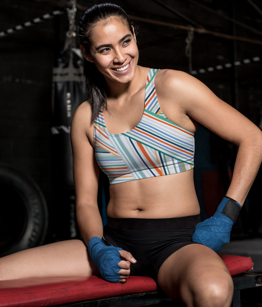 Ribbons sports bra front
