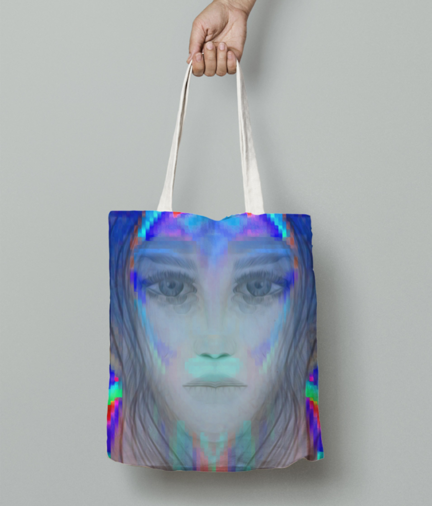 Blue tribal girl tote bag front