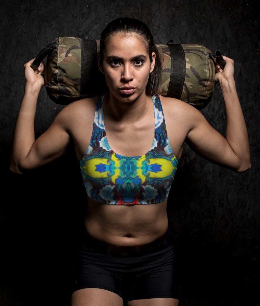 Abstract jungle sports bra front