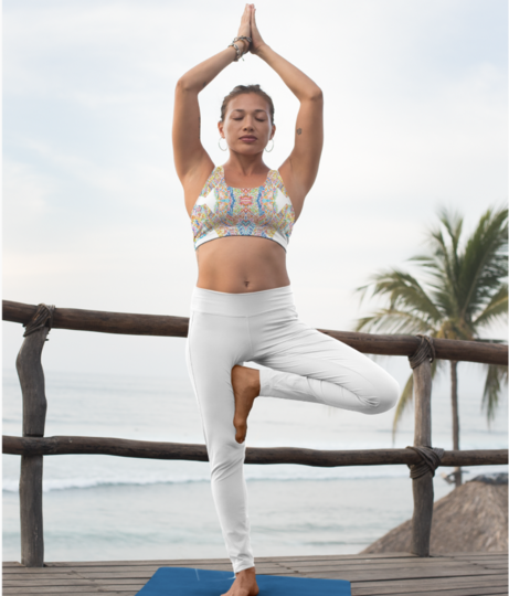 Abstract dance sports bra front