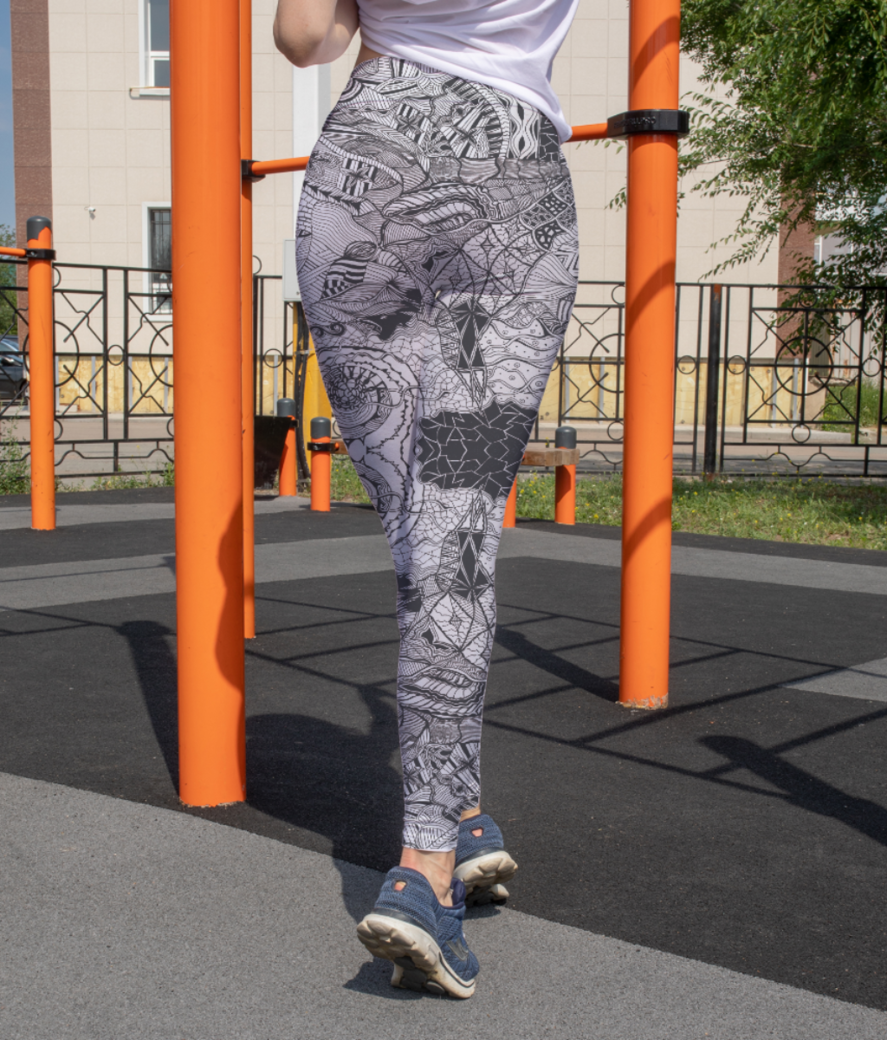 Abstract lines leggings back