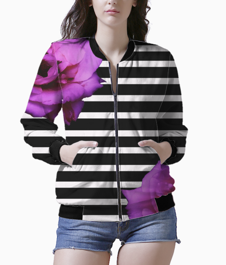 Black stripes with roses bomber front