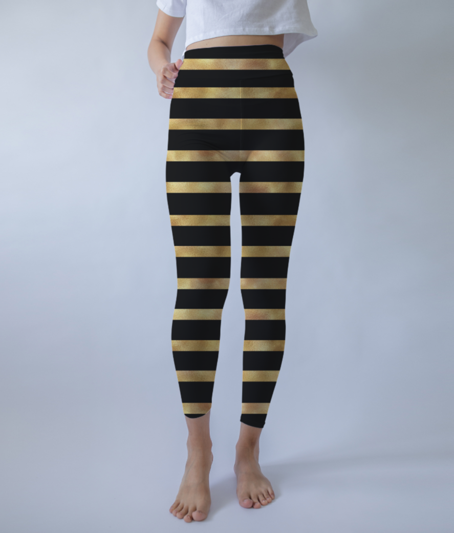 Royal glitter stripes leggings front