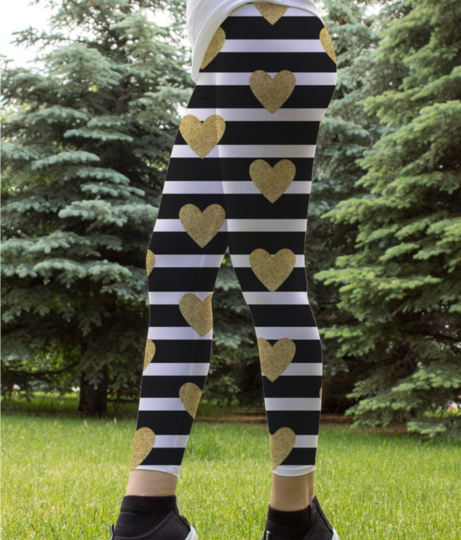 Black stripes with golden hearts leggings front