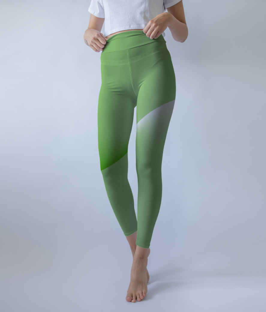 Green abstract leggings front