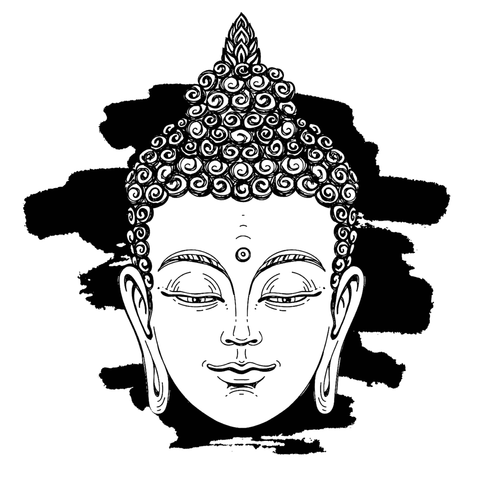 64043942 portrait of a buddha vector illustration on white background with a smear of ink black the esoteric