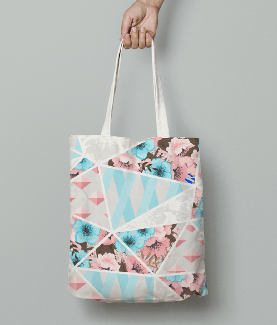 Abstract patchwork 2 tote bag front
