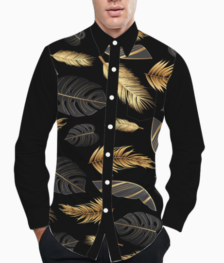 Black golden feathers basic shirt front