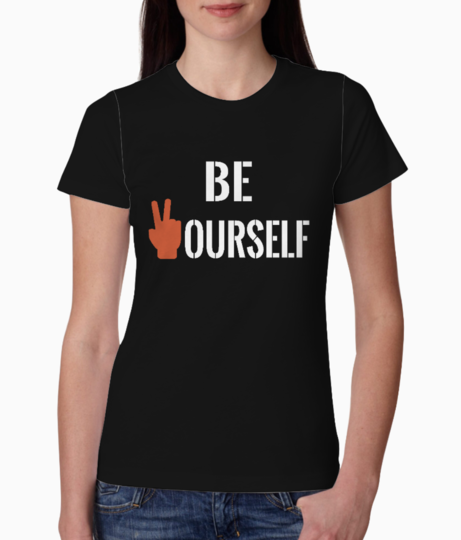 Be yourself white tee front