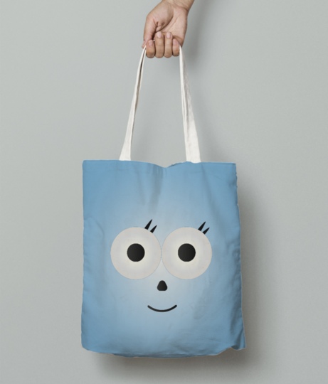 Hexa cutie with blue background 01 tote bag front
