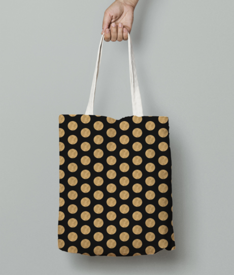 Gold glitter pattern tote bag front