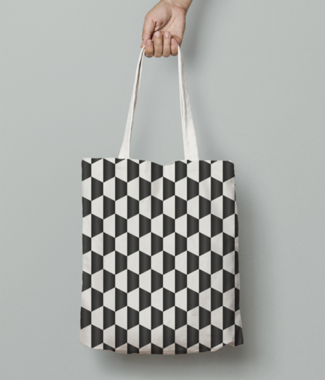 Blacky cubes tote bag front