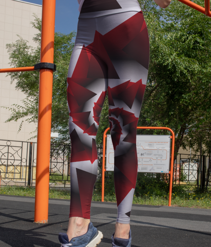 Abstract geometric red graphics leggings front