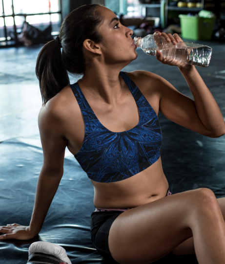 Blue flower sports bra front