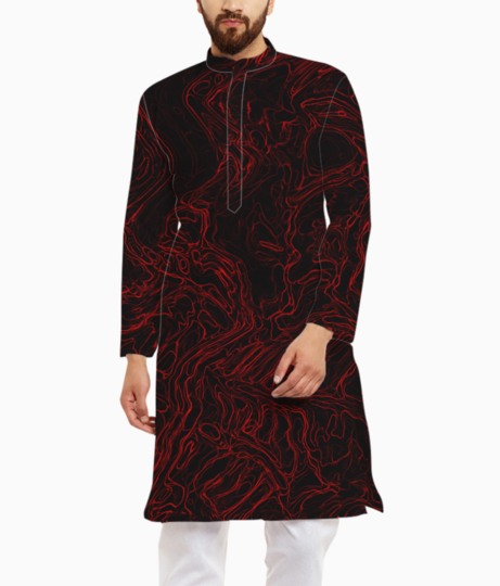 Red waves kurta front
