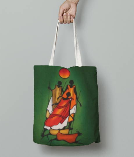 African girls in green  tote bag front
