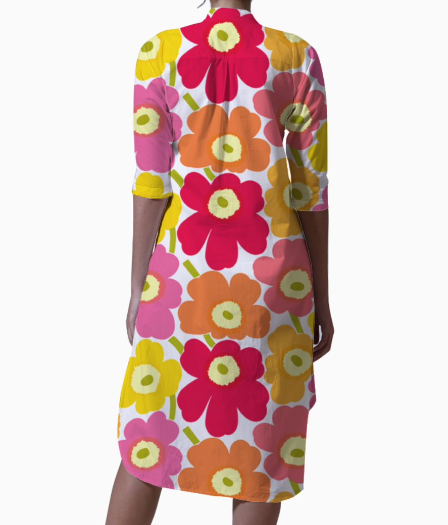 Marimekko pieni unikko 2 yellow orange pink fabric 22 kurti back