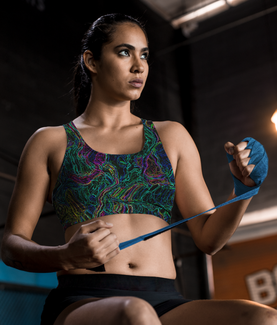Color waves sports bra front