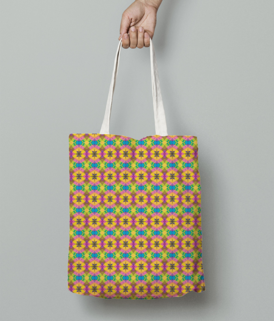 Yellow spark tote bag front