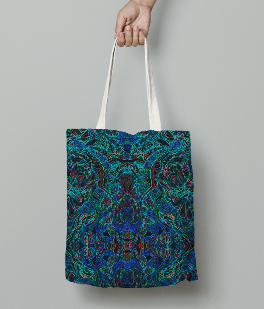 Abstract fire blue tote bag front