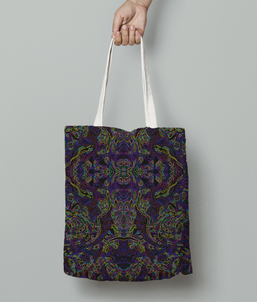Abstract purple plunge tote bag front