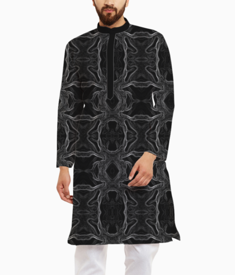 Abstract aqua kurta front