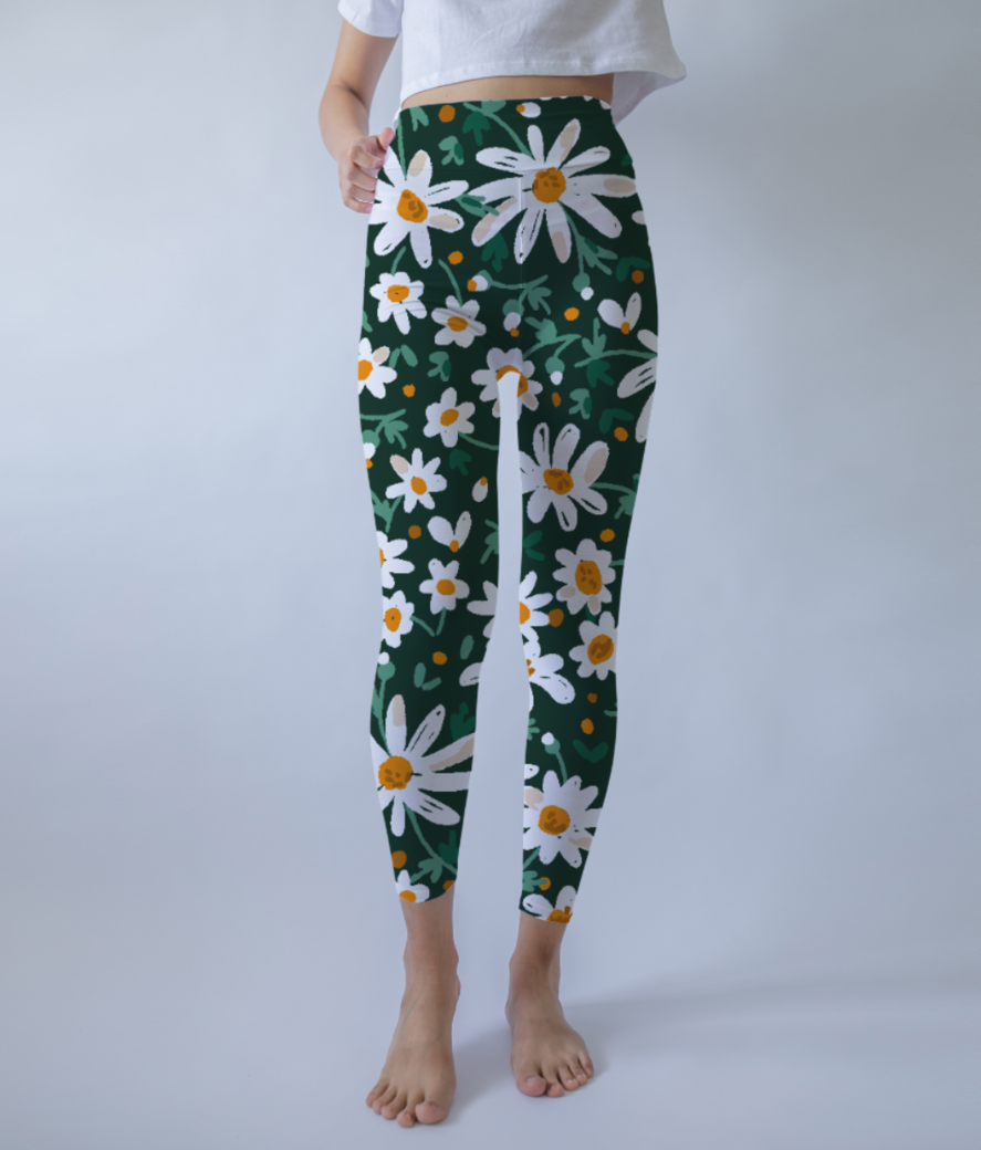 White floral pattern leggings front