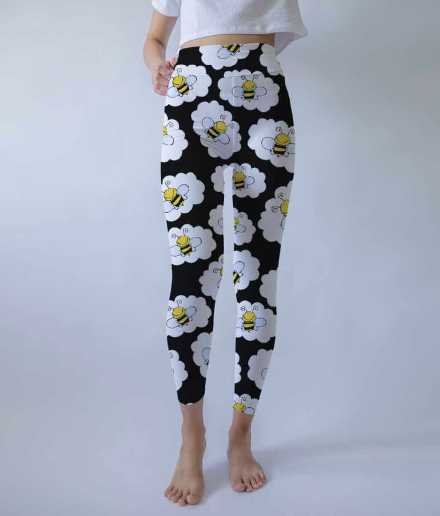 Bee pattern 2 leggings front