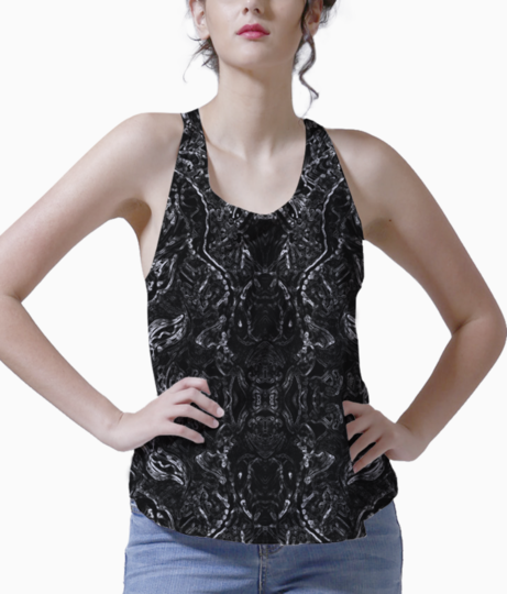 Abstract fire blue tank front