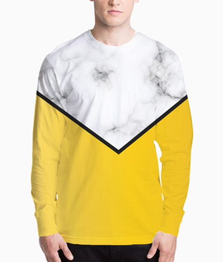 Abstract yellow pastel modern marble henley front
