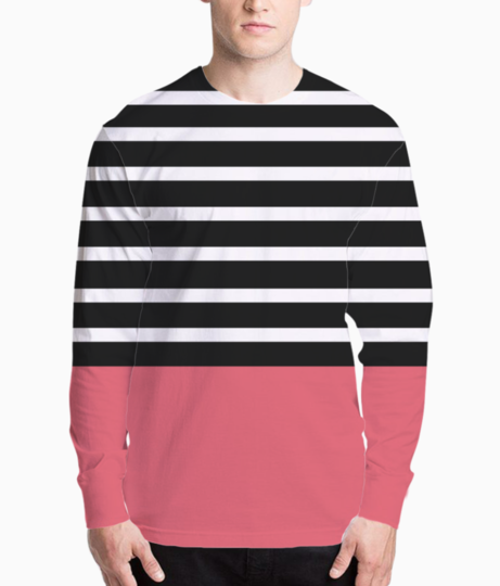 Black   white stripes with bitter sweet patch henley front