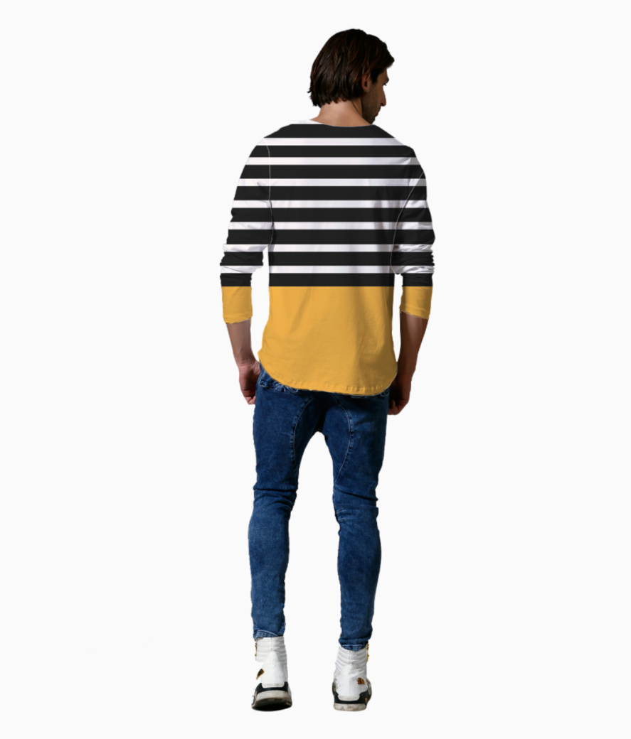 Black   white stripes with honey patch henley back