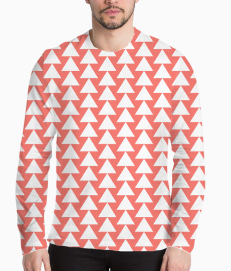 Living coral  white triangle henley front