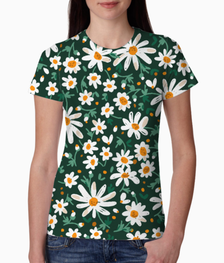 White floral pattern tee front