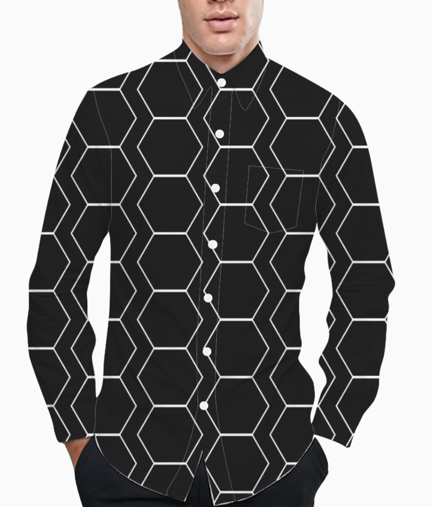 Black  white hexagen basic shirt front