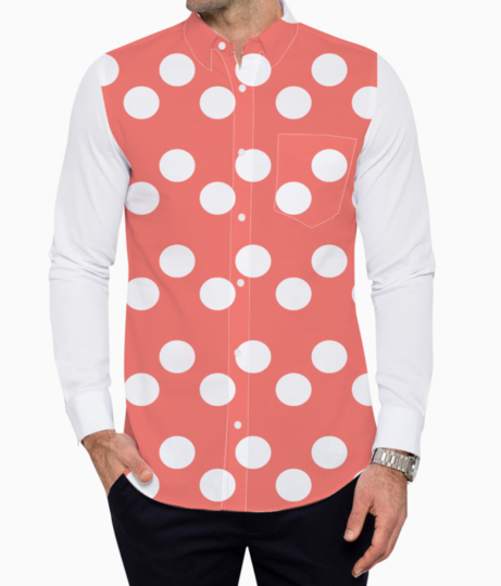 Living coral  white dots basic shirt front